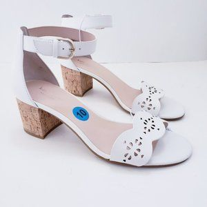 Kate Spade White Scalloped Leather Cork Block Heel